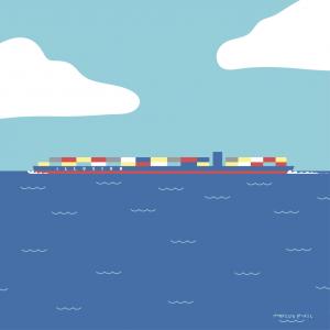barco ship mercancía goods illustration dibujo art