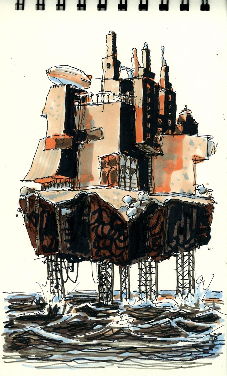 ciudad mar sea city ruina decadencia futuro ilustración art