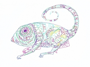 minimal dibujo drawing camaleón