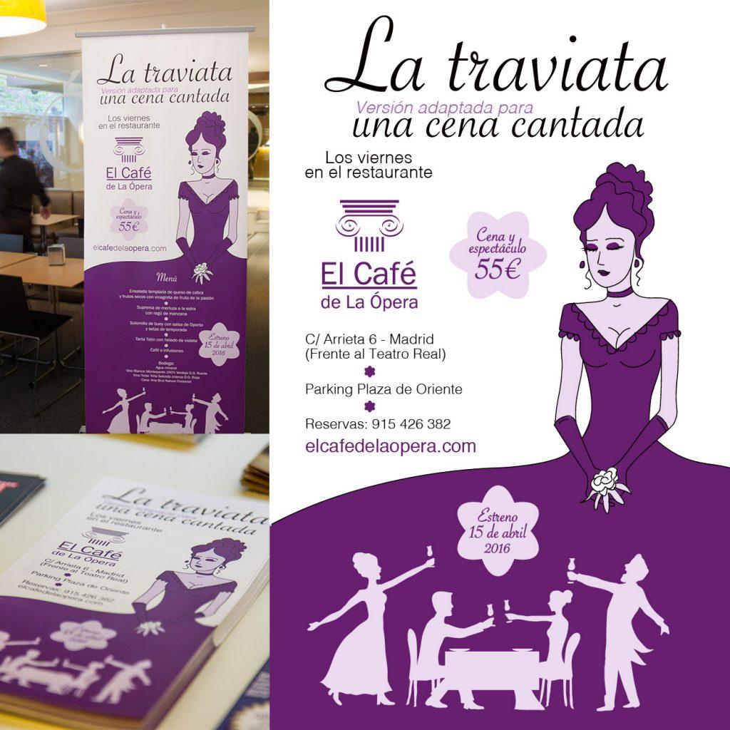 Compo La Traviata cartel rollup diseño cena cantada el café de la ópera madrid