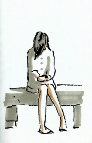 dibujo drawing minimal whatsapp girl chica esperando chat niña