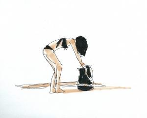 dibujo drawing minimal chica playa bikini summer verano