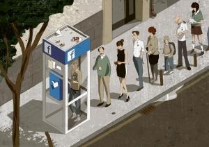 teléfono telephone booth retro future facebook 80 90 ilustration steampunk