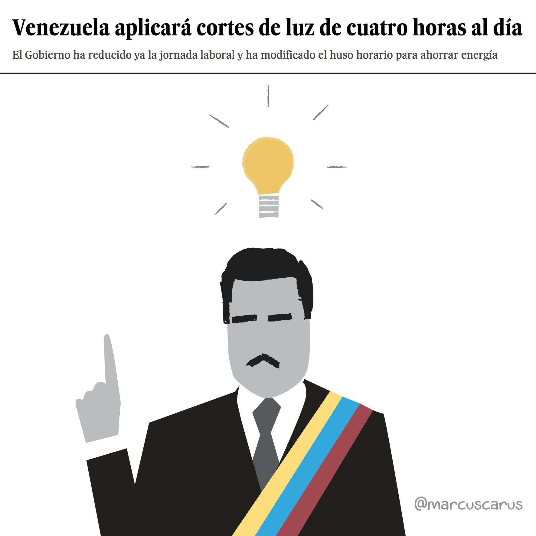 Venezuela nicolás Maduro artículo prensa electricidad cortes huso horario crisis metáfora visual noticia corte luz rajoy