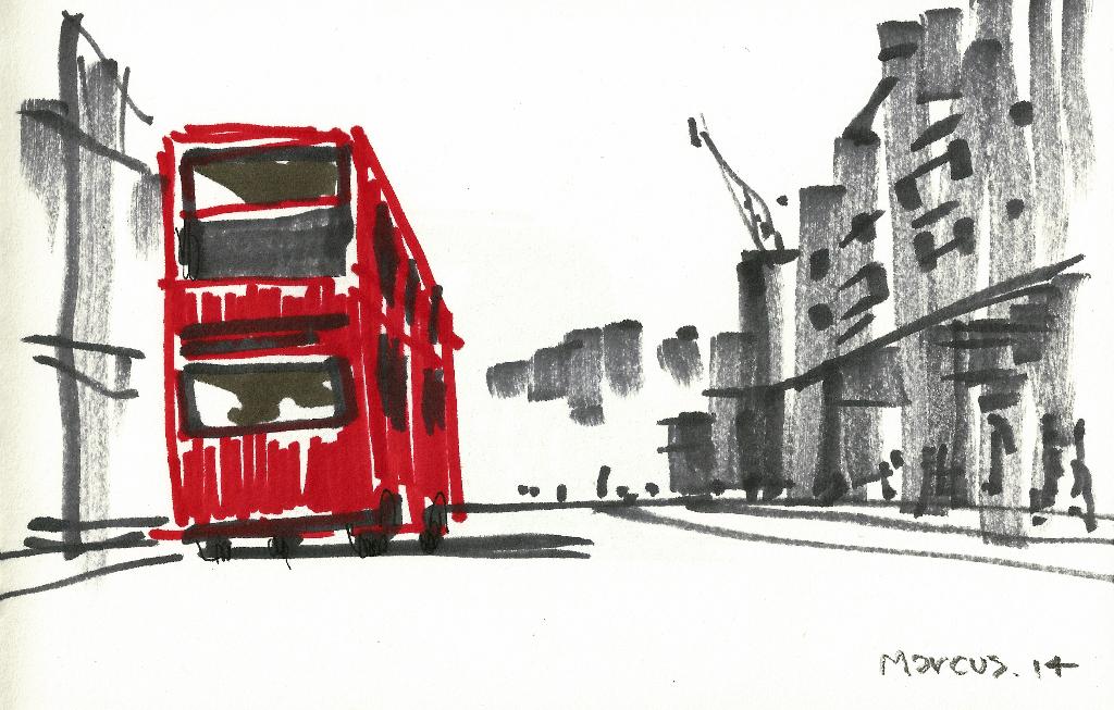 dibujo drawing minimal bus london londres double decker