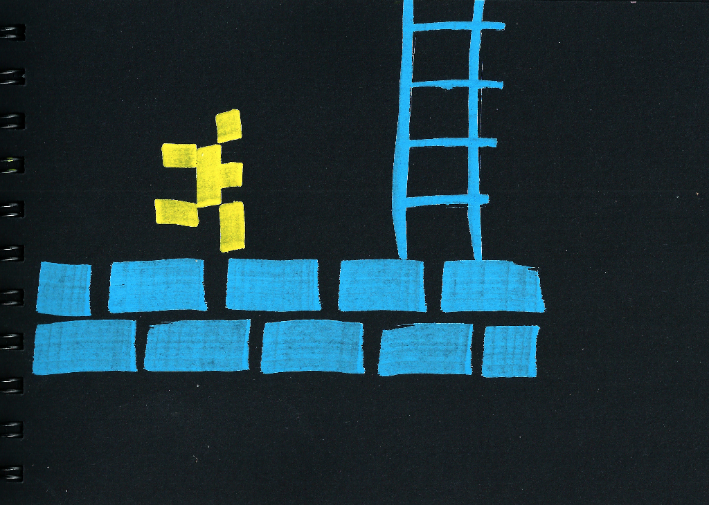 dibujo drawing minimal correr 8bit huir scape escalera ladder pixel