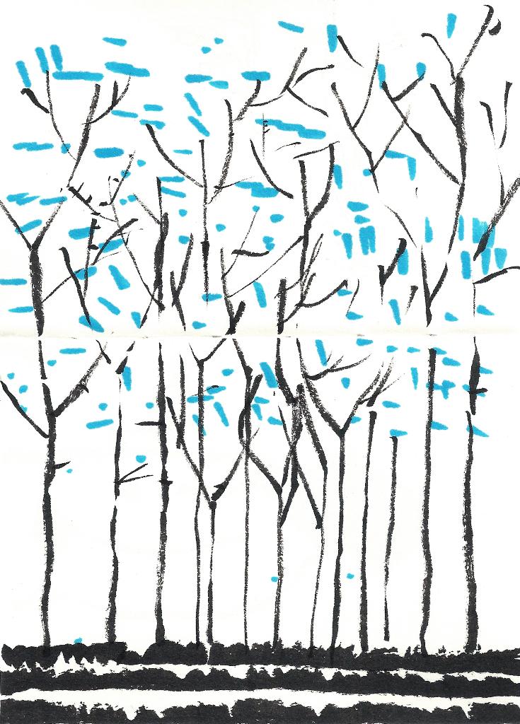 dibujo drawing minimal forrest blue