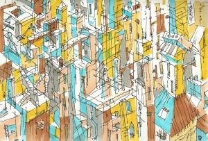 ciudad dibujo ilustración urban future distopia caos city