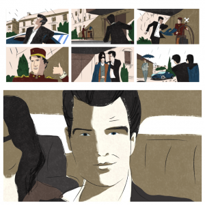 pierce brosnan storyboard cine publicidad spot commercial shooting dibujo viñeta artwork