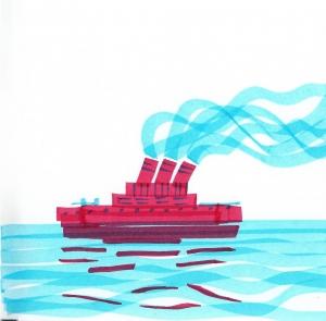 dibujo drawing minimal trip barco ship crucero mar