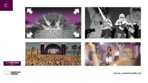 storyboard cine publicidad spot commercial shooting dibujo viñeta artwork concierto verano gafas