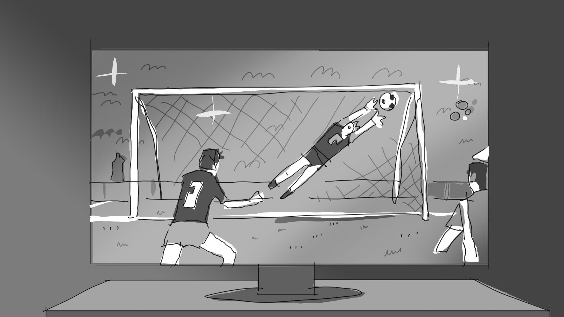 storyboard cine publicidad spot commercial shooting dibujo viñeta artwork futbol árbitro champions league partido penalty