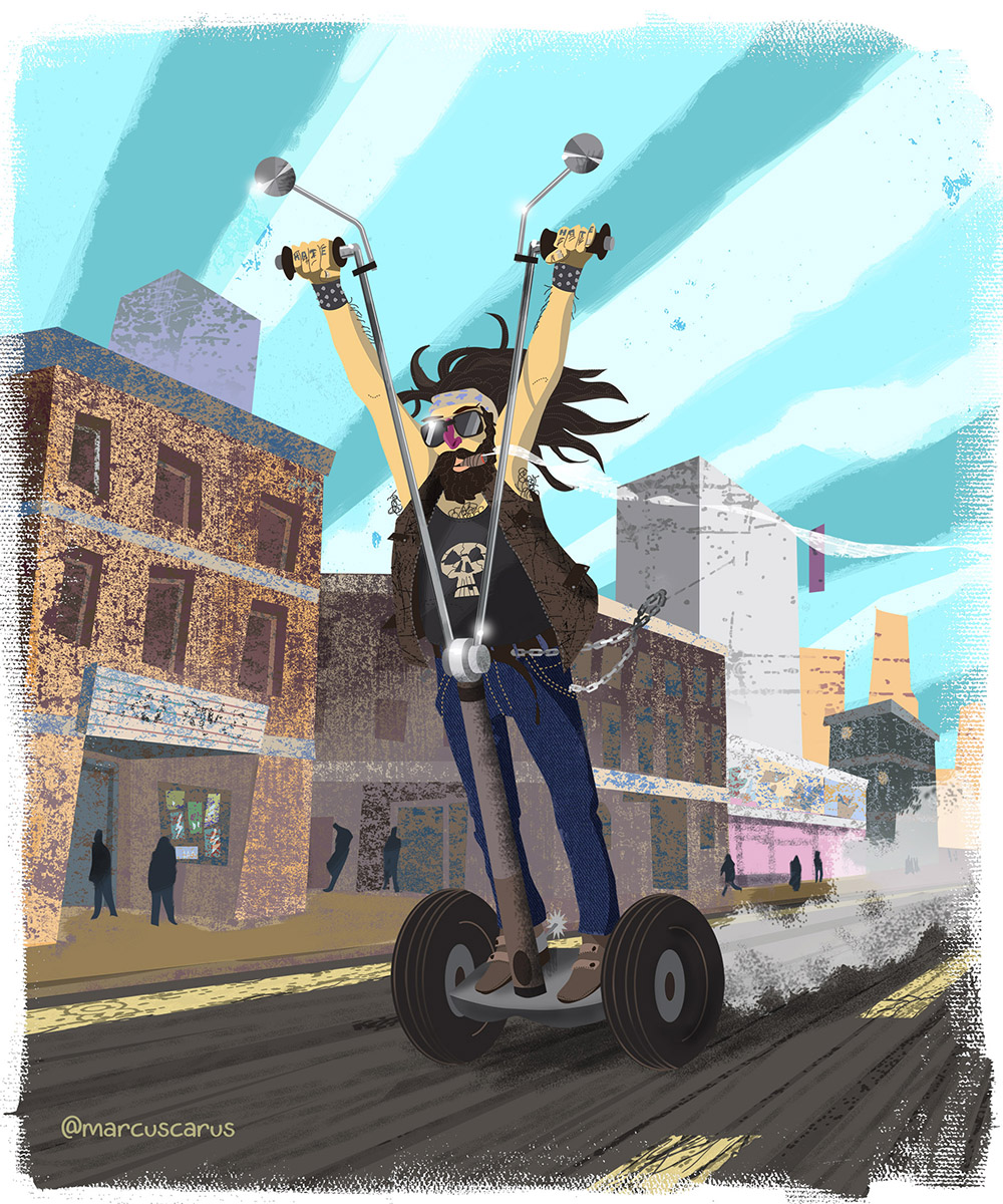 segway pijada burgués hate ilustración illustration art distopía distopic future grunch