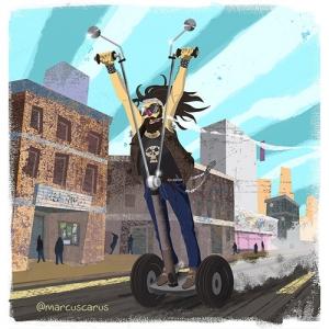 Ilustration drawing artwork segway pijada burgués hate ilustración illustration art distopía distopic future grunch