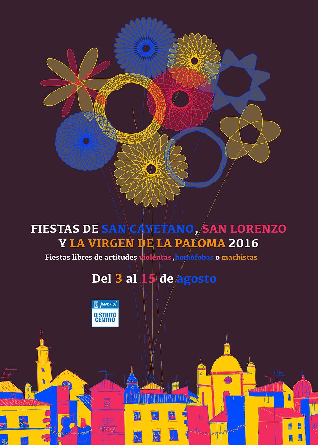cartel San lorenzo virgen paloma cayetano fuegos artificiales ilustración Madrid Latina lavapiés