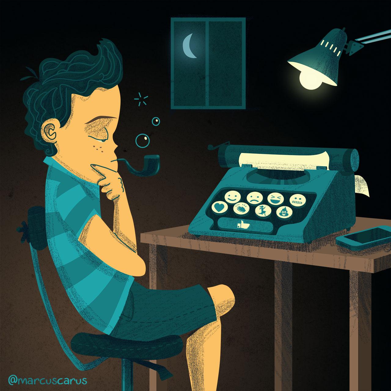 emoticonos emojis escribir educación education lenguaje languaje ilustración ilustration facebook metafora metaphore typewriter maquina escribir