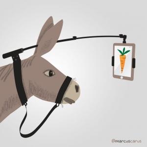 motivation motivacion zanahoria carrot burro carrot selfie stick palo ipad smartphone metafora metaphore stupid
