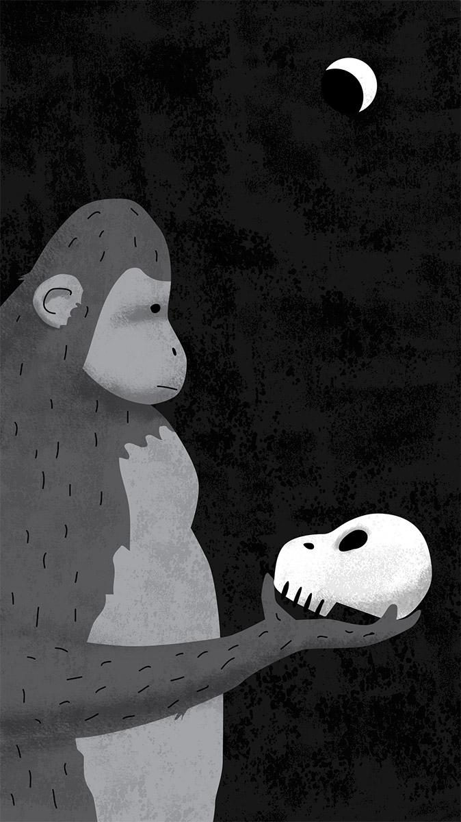 zoom jose antonio Marina ilustración illustration editorial marcuscarus filosofia metáfora metaphore mono shakespeare hamlet conciencia