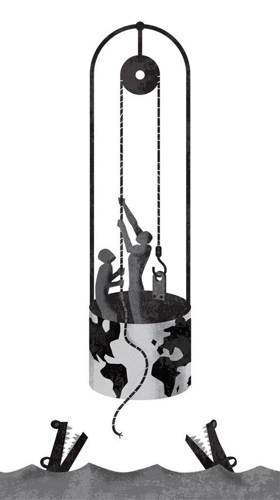 zoom jose antonio Marina ilustración illustration editorial marcuscarus filosofia pozo cocodrilos polea